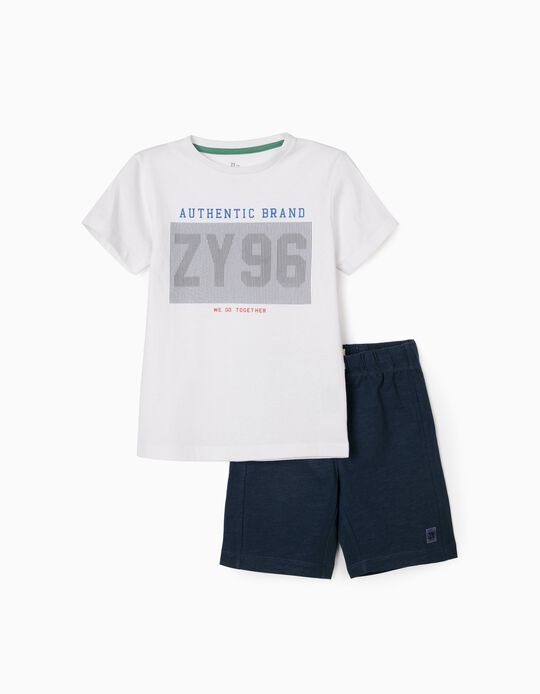 T-shirt & Shorts for Boys, 'ZY 96', White/Dark Blue