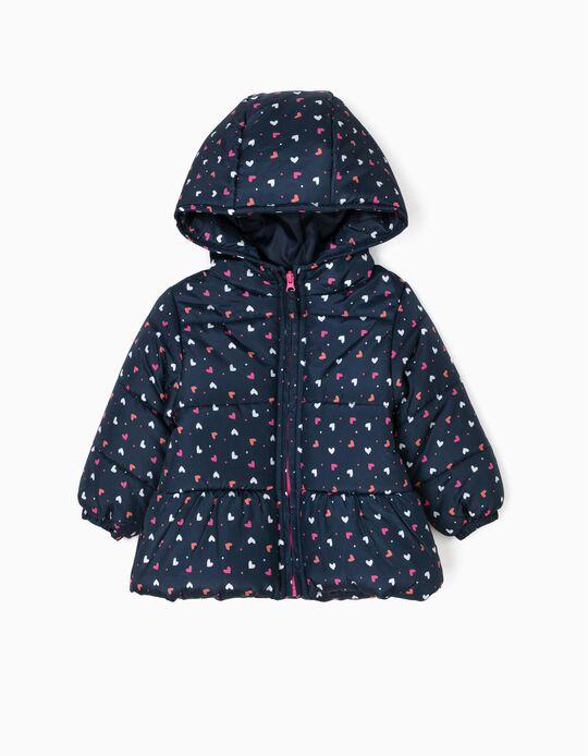 Blusão Acolchoado com Capuz para Bebé Menina Corações, Azul Escuro