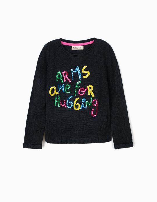 Camisola de Malha para Menina 'Hugs', Azul Escuro