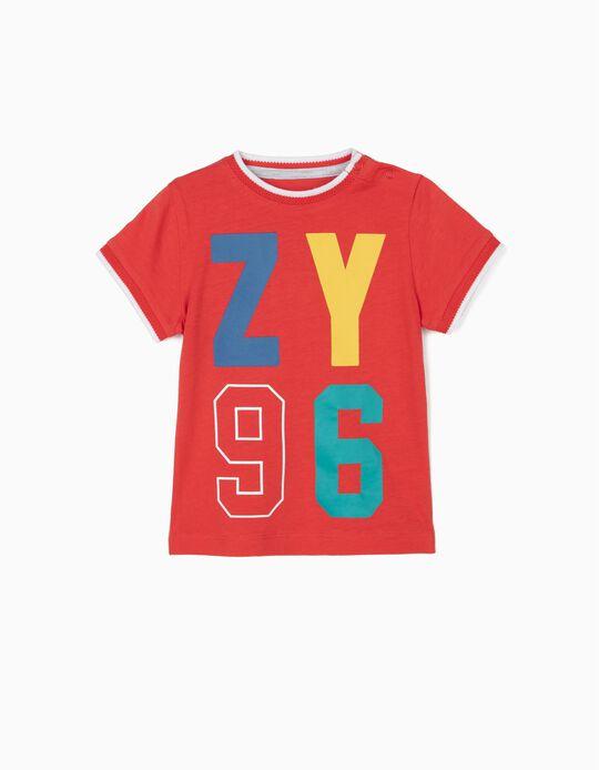 T-shirt para Bebé Menino 'ZY 96', Vermelho