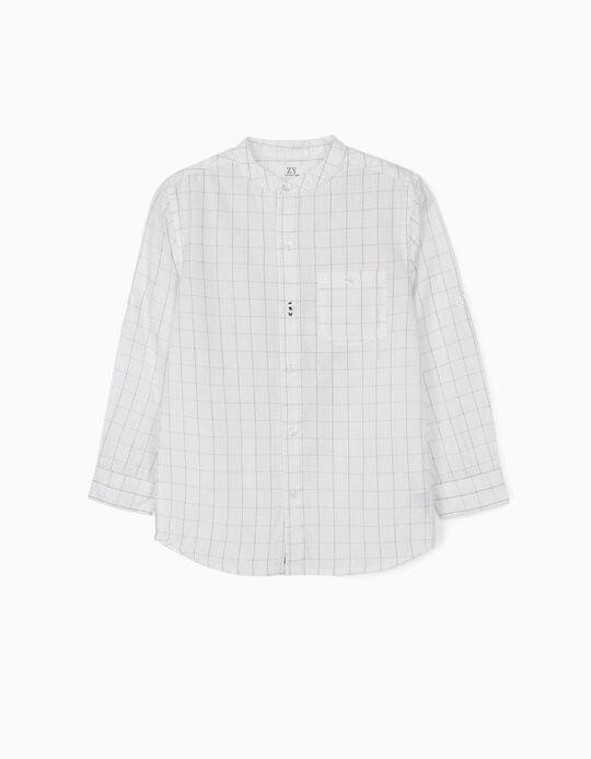 Shirt with Mandarin Collar for Boys, White