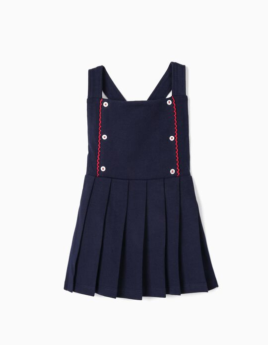 Piqué Pinafore Dress for Baby Girls, Dark Blue