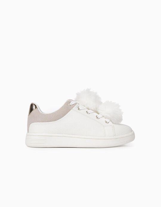 Zapatillas para Niña con Pompones, Blancas