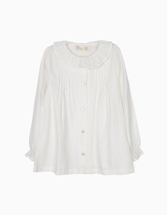 Blusa Fluida de Sarja Branca