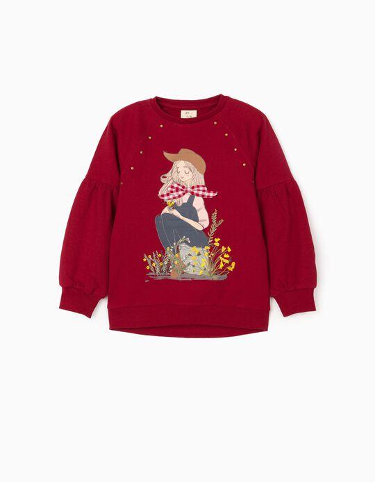 Sweatshirt para Menina 'Girl with Bow', Bordô