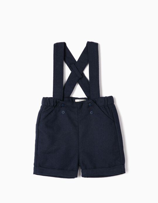 Shorts with Straps for Newborn Boys, Dark Blue