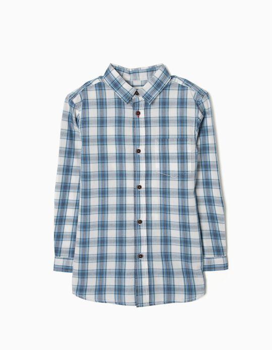 Camisa para Menino Quadrados, Azul