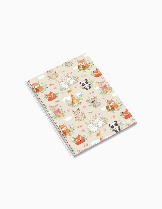 Caderno Espiral A4 Quadriculado 'Ambar Pets Friends Woodland', Sortido