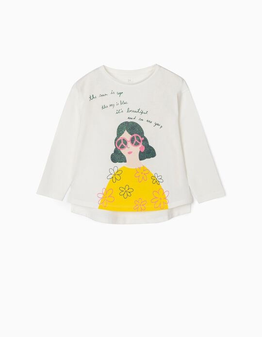 T-shirt Manga Comprida para Menina 'Beautiful', Branco