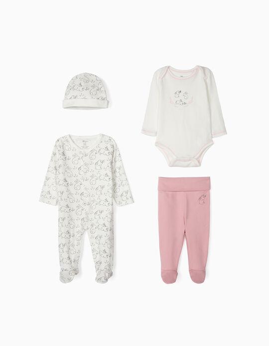 Conjunto 4 Prendas para Recién Nacida 'Cute Rabbit', Blanco y Rosa