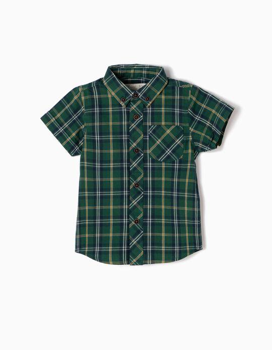 Camisa Bebé Niño Manga Corta Ajedrez Verde y Amarilla