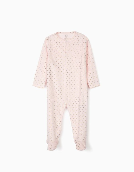 Velour Sleepsuit for Baby Girls 'Hearts', Pink