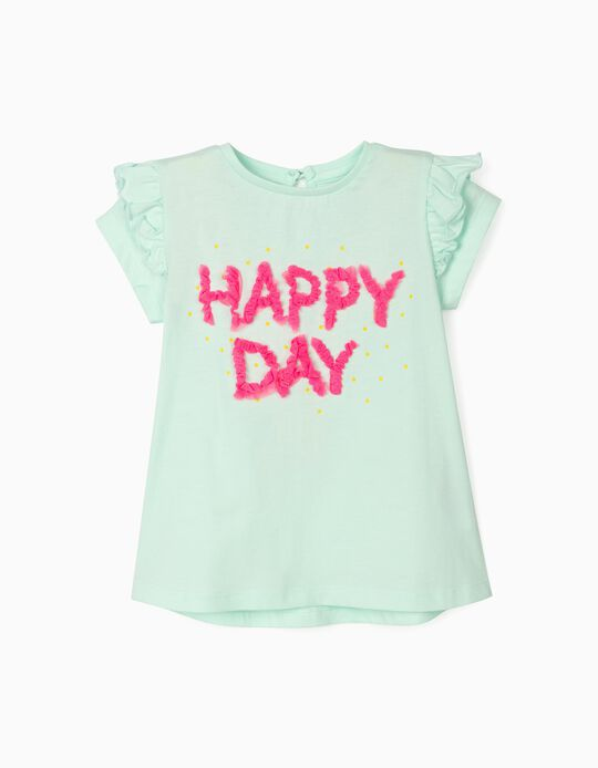 Happy Day' T-shirt for Baby Girls, Light Blue