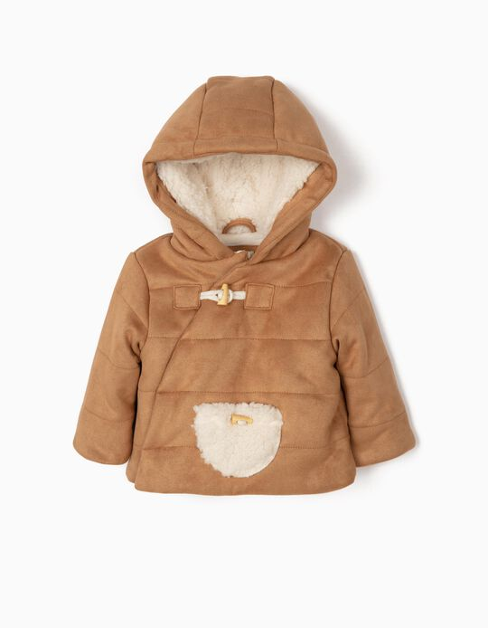 Suedette Coat with Hood for Newborn Boys, Camel