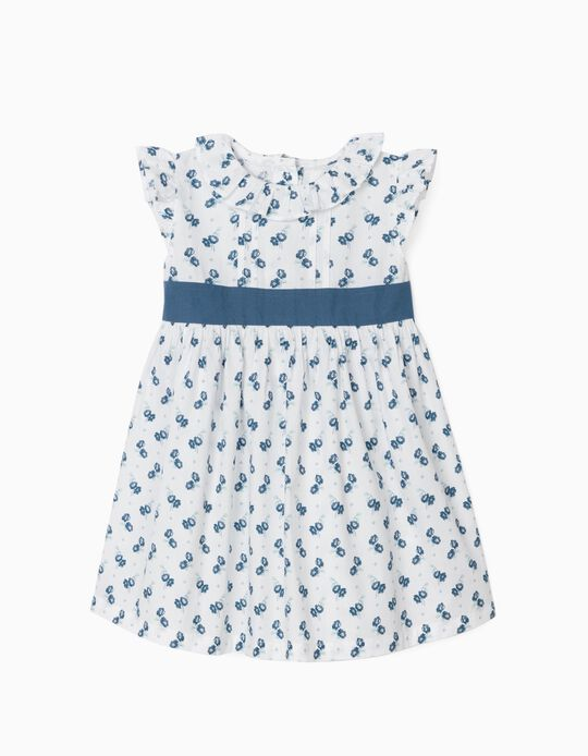 Floral Dress for Baby Girls, White/Blue
