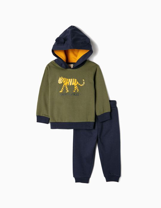 Tracksuit for Baby Boys 'Tiger', Dark Blue/Green