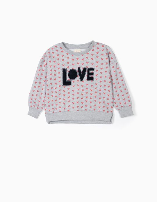 Sweatshirt para Menina 'Love', Cinza
