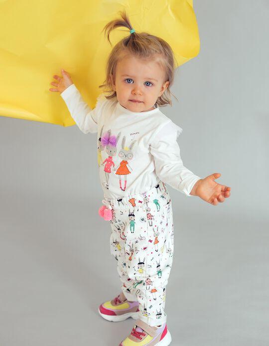 Camiseta de Manga Larga Algodón Orgánico para Bebé Niña, Blanca