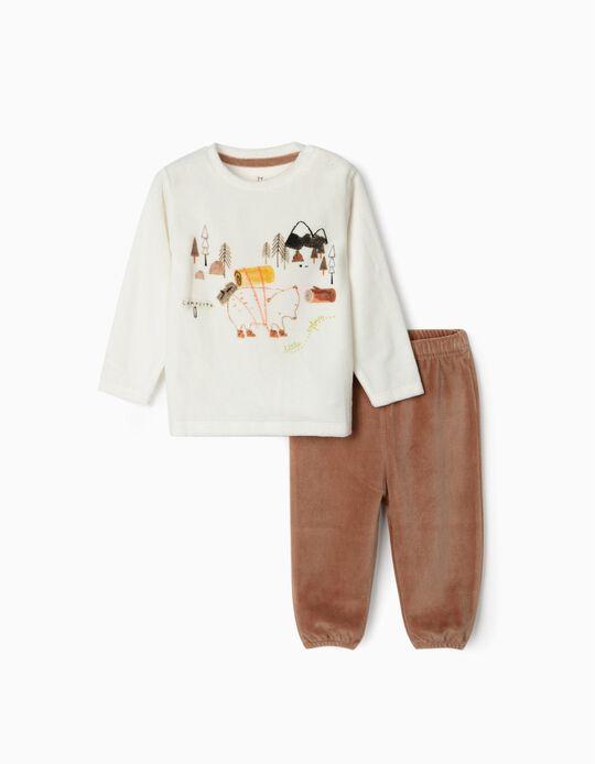 Pijama de Terciopelo para Bebé Niño 'Little Explorer', Blanco/Marrón