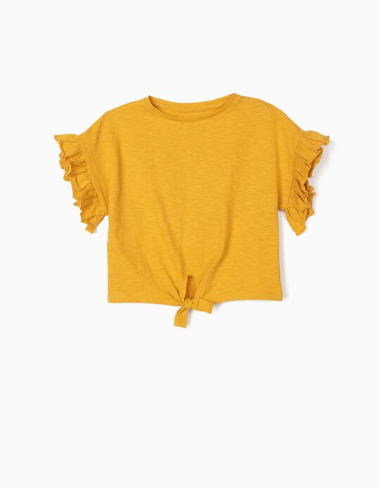 Organic Cotton T-Shirt for Girls, Dark Yellow