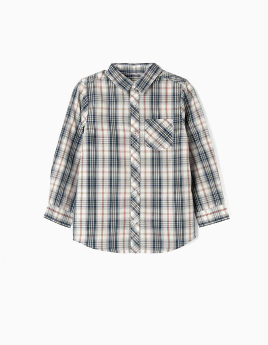 Camisa Manga Larga para Niño 'Ajedrez', Verde y Blanco