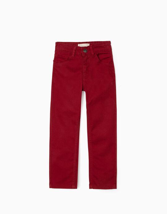 Pantalón de Sarga para Niño, Rojo Oscuro