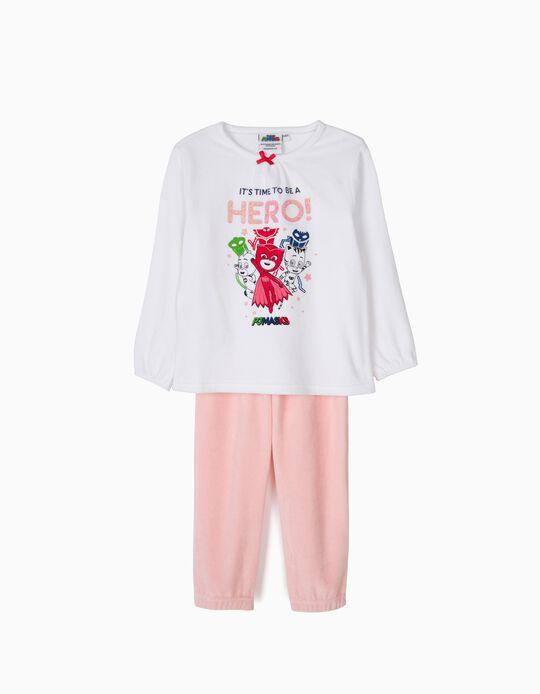 Pijama Manga Comprida e Calças PJ Masks Branco e Rosa