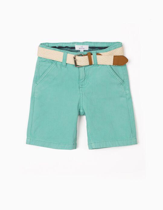 Short con Cinturón para Niño, Verde