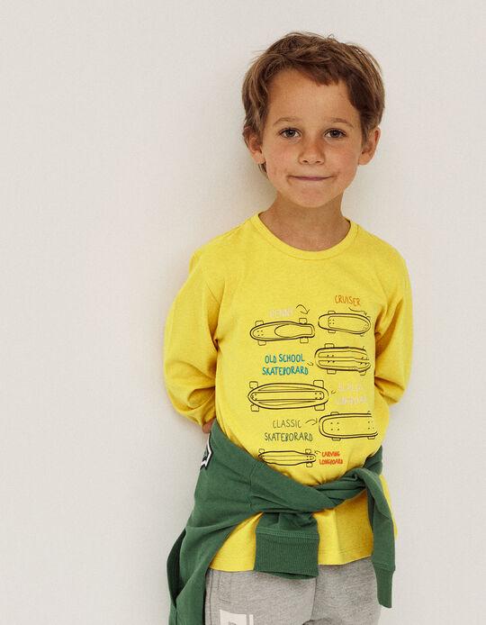 T-shirt manches longues garçon 'Skate', jaune