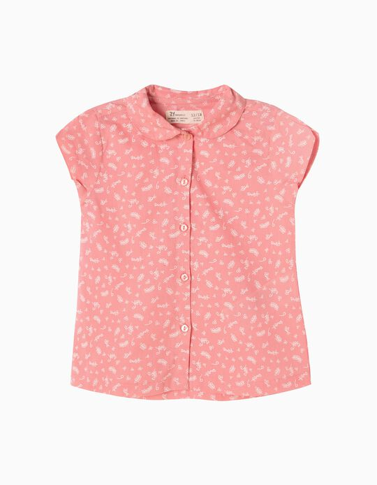 Blusa Manga Curta Estampada para Bebé Menina, Rosa