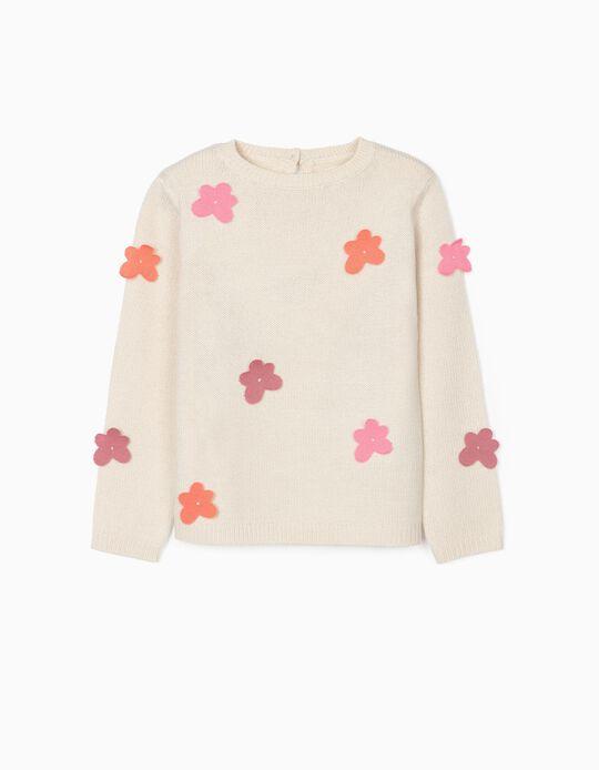 Camisola de Malha para Menina 'Flowers', Bege