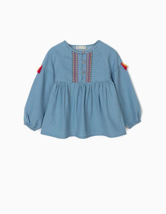 Blusa de Ganga para Menina com Bordados e Borlas, Azul