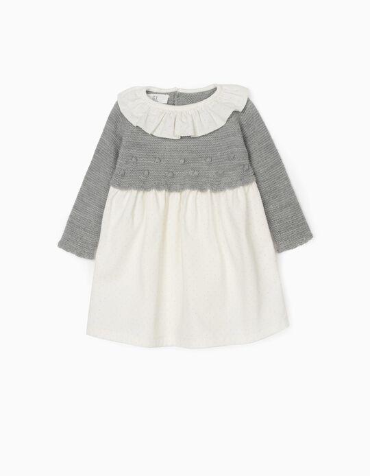 Dual Fabric Dress for Newborn Baby Girls, Grey/White