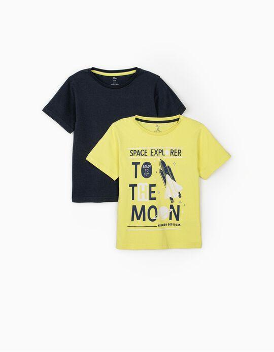 2 Camisetas para Niño 'Space Explorer', Amarillo Lima/Azul Oscuro