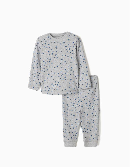Rib Knit Pyjamas for Baby Boys, 'Stars', Grey/Blue