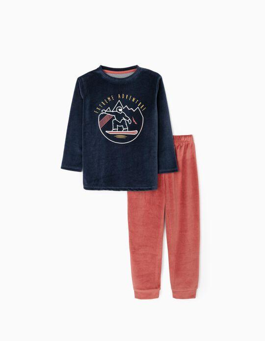 Pijama Terciopelo para Niño 'Adventure', Azul Oscuro/Rojo
