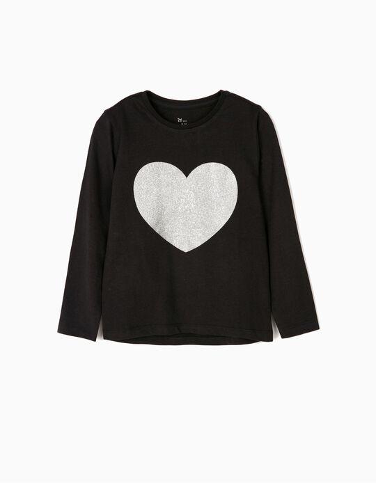 T-shirt Manga Comprida para Menina 'Glitter Heart', Preto