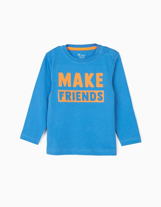 Camiseta de Manga Larga para Bebé Niño 'Make Friends', Azul