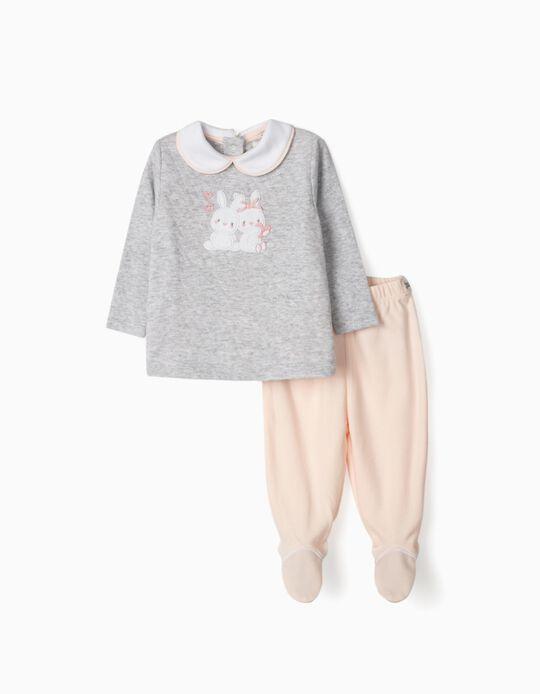 Pyjama nouveau-née 'Little Bunnies', gris/rose