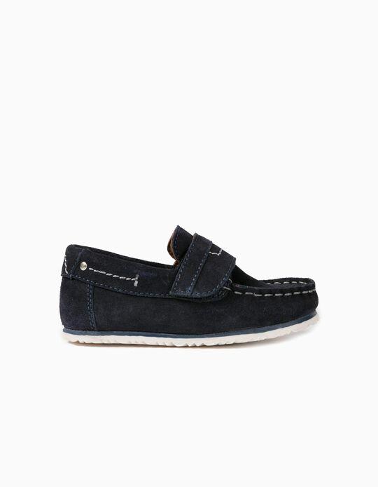 Sapatos Camurça para Bebé Menino, Azul Escuro