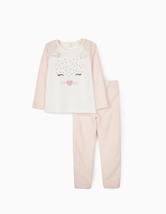 Pijama Coralina para Niña 'Cute Leopard', Blanco/Rosa