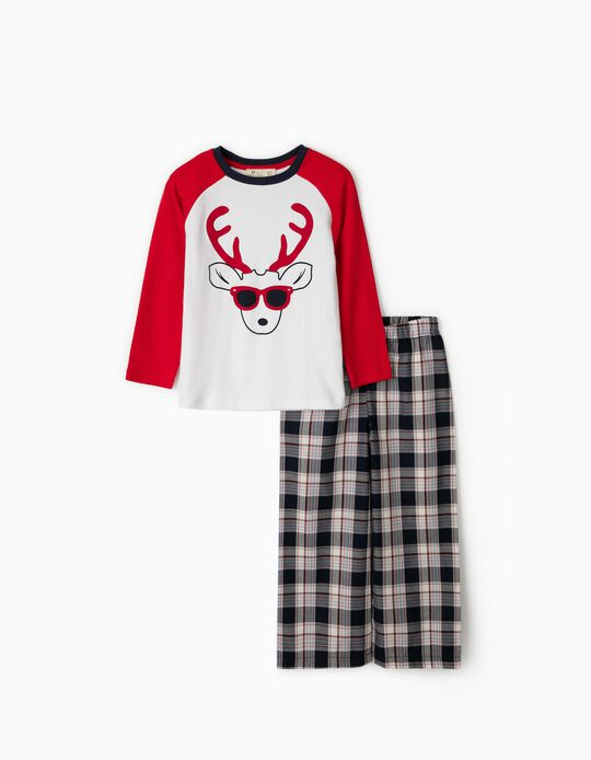 Pyjamas for Boys 'Christmas Reindeer', Red/White