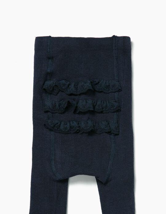 Collants de Malha com Bordado Inglês para Bebé Menina, Azul Escuro