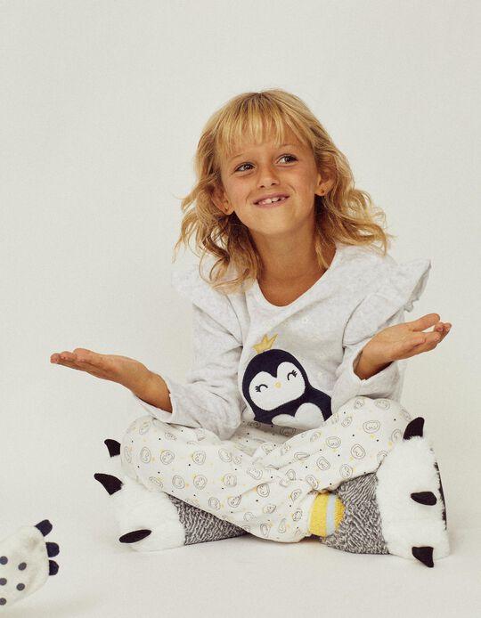 Pijama Terciopelo para Niña 'Glow in the Dark', Gris