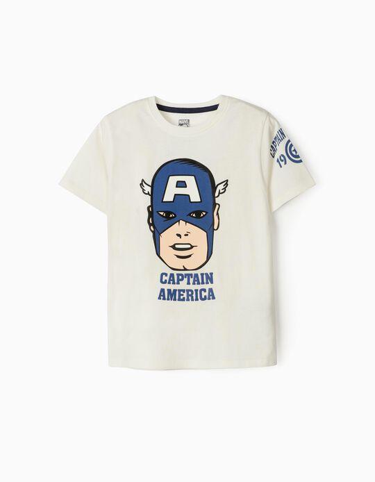 T-shirt para Menino 'Captain America', Branco