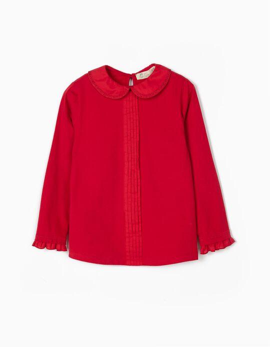 Camiseta de Manga Larga con Cuello para Niña, Roja