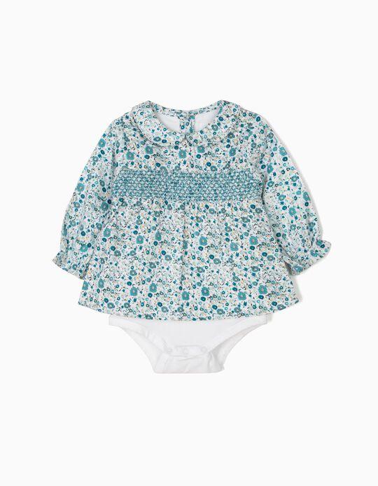 Body-Blusa Florido para Recém-Nascida, Azul e Branco