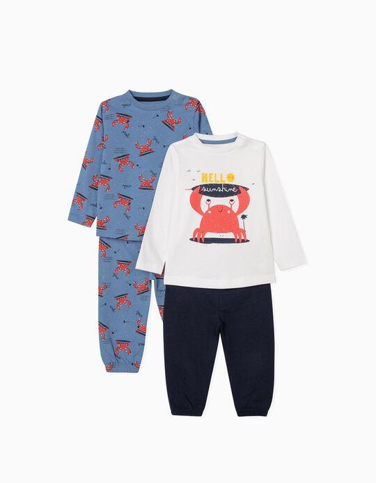Pijama 4 Prendas para Bebé Niño 'Sunshine', Azul/Blanco