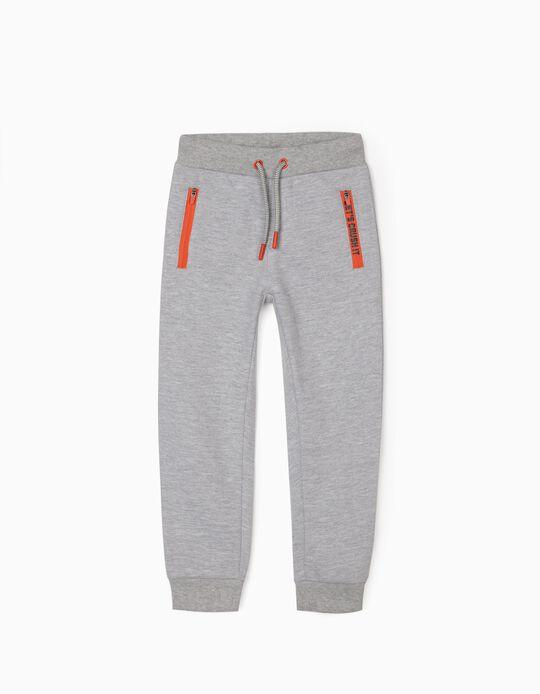 Pantalon de Sport Garçon, Gris Chiné