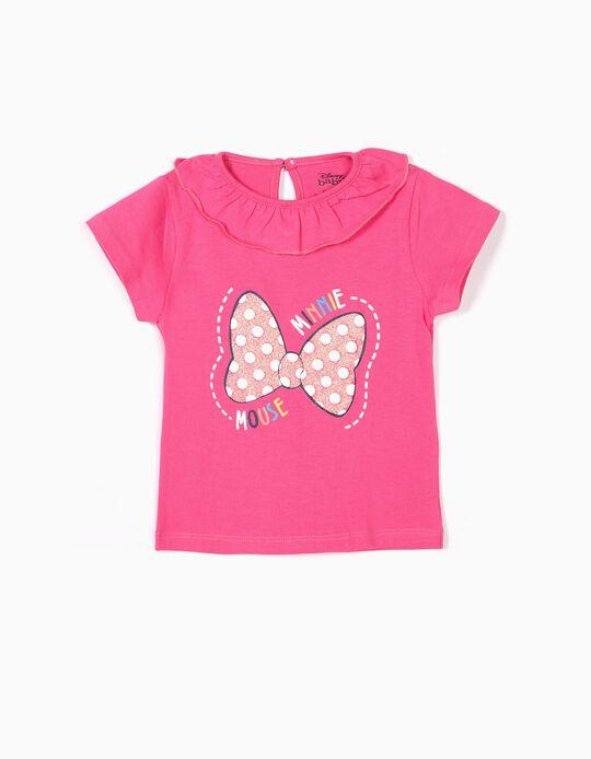 T-shirt para Bebé Menina 'Minnie' com Folho, Rosa
